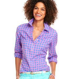 Vineyard Vines Gingham Popover Top Pink + Blue 4